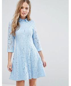 City Goddess   Короткое Приталенное Кружевное Платье-Рубашка