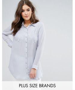 Koko | Светло-Голубая Рубашка С Цветочной Вышивкой