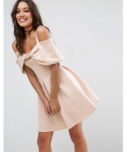 Asos | Короткое Расклешенное Платье С Бантом