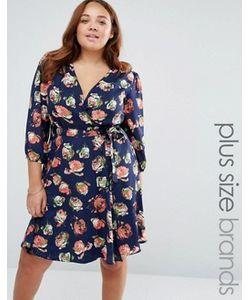 Yumi Plus   Короткое Приталенное Платье С Запахом И Цветочным Принтом