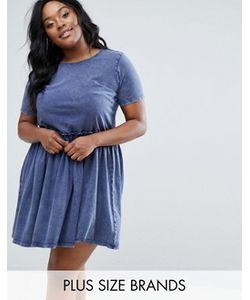 Junarose | Короткое Приталенное Платье С Эффектом Кислотной Стирки