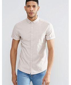 Asos   Облегающая Оксфордская Рубашка С Короткими Рукавами