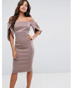 Asos | Облегающее Платье Миди С Открытыми Плечами И Рукавами-Лепестками
