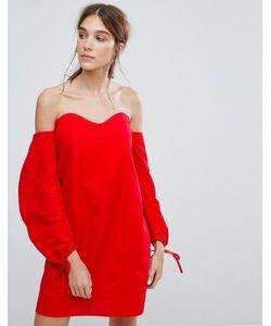 Neon Rose | Платье С Открытыми Плечами И Присборенными Рукавами