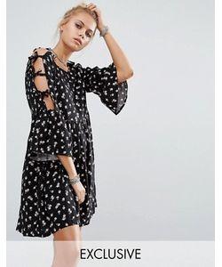 Milk It | Платье С Цветочным Принтом И Завязками На Рукавах Vintage