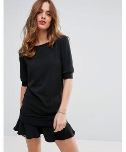 Sisley | Платье С Оборкой По Краю