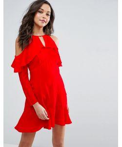 Asos   Чайное Платье С Открытыми Плечами И Оборками