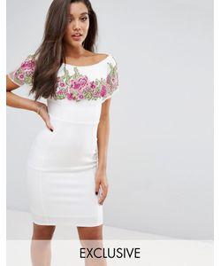 Lipsy | Облегающее Платье С Открытыми Плечами И Цветочной Вышивкой