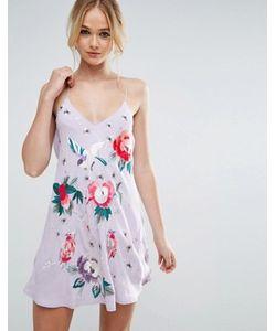 Asos | Платье-Комбинация С Вышивкой Premium