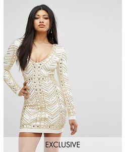 Starlet | Золотистое Платье Мини С Глубоким Декольте И Сплошной Отделкой