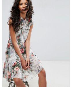 Needle & Thread | Платье Миди С Высоким Воротом И Цветочным Принтом