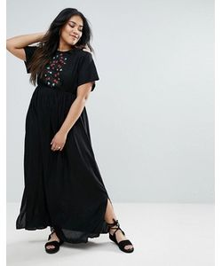 Diya   Платье Макси С Открытыми Плечами И Цветочной Вышивкой