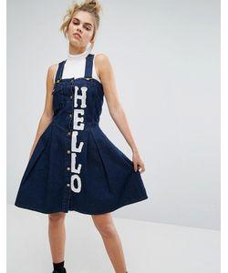 House Of Holland   Джинсовый Сарафан С Принтом Hello X Lee