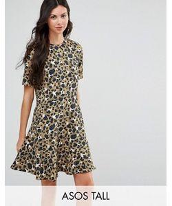 ASOS TALL   Платье С Заниженной Талией И Животным Принтом
