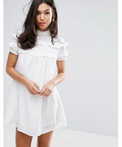Fashion Union | Платье С Высоким Воротом И Двойными Оборками
