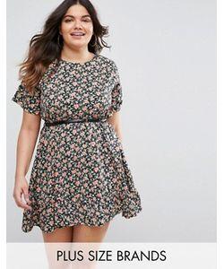Yumi Plus   Короткое Приталенное Платье С Цветочным Принтом И Рюшами