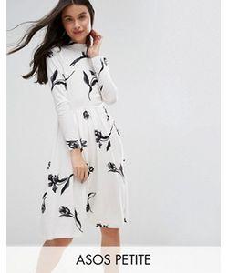 ASOS PETITE | Кремовое Платье Миди С Высокой Горловиной И Цветочным Принтом