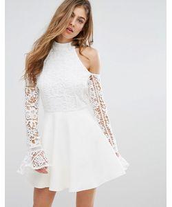 MISSGUIDED | Короткое Приталенное Платье С Кружевными Рукавами И Открытыми Плечами