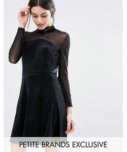 True Decadence Petite | Бархатное Короткое Приталенное Платье С Сетчатыми Рукавами