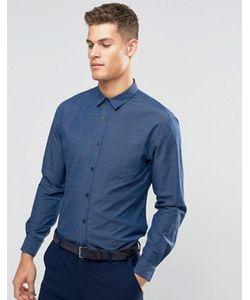 Silver Eight | Строгая Синяя Рубашка Добби