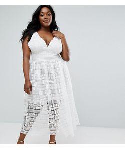 Truly You | Приталенное Платье Миди С Кружевной Отделкой
