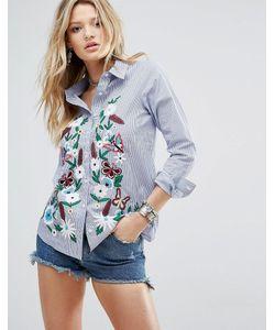 Glamorous   Свободная Рубашка В Тонкую Полоску С Цветочной Вышивкой