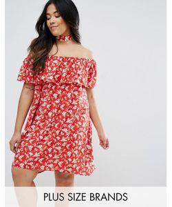 NVME | Платье Со Спущенными Плечами И Оборкой Plus