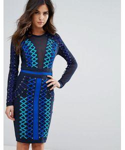 WOW Couture | Бандажное Платье Со Шнуровкой И Сетчатыми Вставками