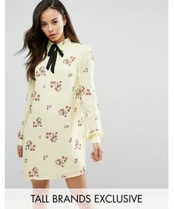 Fashion Union Tall | Цельнокройное Платье С Длинными Рукавами И Цветочным Принтом