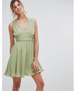 Asos | Короткое Приталенное Платье С Драпировкой И V-Образным Вырезом