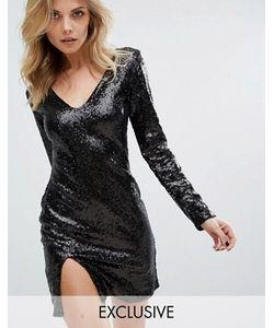 Club L | Платье Мини С V-Образным Вырезом И Длинными Рукавами