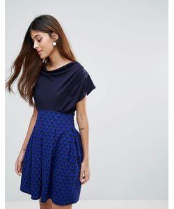 Closet London | Контрастное Платье Со Свободным Воротом Closet
