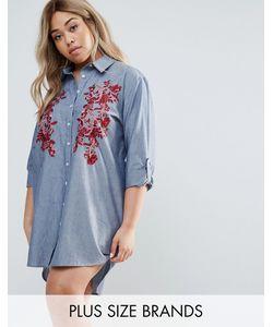 Boohoo Plus | Платье-Рубашка С Вышивкой
