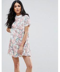 Endless Rose | Цельнокройное Платье С Коротким Рукавом Цветочным Принтом И Отделкой На Воротнике