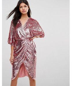 Club L | Платье Миди С Рукавами Кимоно И Отделкой Пайетками