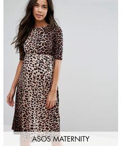 ASOS Maternity | Платье Миди С Принтом Леопарда