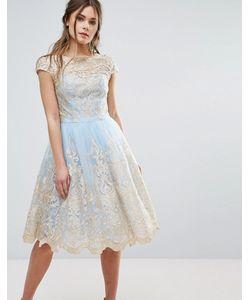 Chi Chi London | Платье Миди Из Премиум-Кружева Цвета Металлик