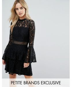 John Zack Petite | All Over Premium Lace Top Tie Prom Mini