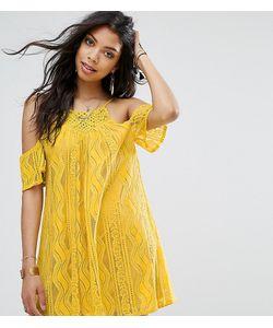 boohoo | Свободное Платье С Открытыми Плечами И Отделкой Кроше