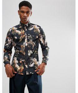 Selected Homme   Облегающая Рубашка С Принтом