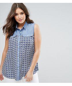 Koko | Контрастная Джинсовая Рубашка С Принтом