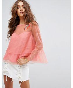 boohoo   Сетчатая Блузка С Вышивкой