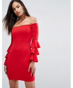 Club L | Платье Мини С Ярусными Рукавами