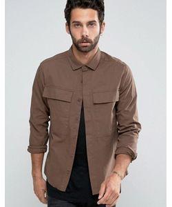 Asos   Укороченная Рубашка Навыпуск С Оversize-Карманами