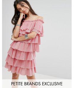 Glamorous Petite | Платье Мини В Клеточку Из Ярусных Оборок