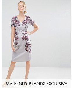Hope and Ivy Maternity | Облегающее Платье Миди Для Беременных С Зеркальным Цветочным Принтом Hope