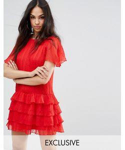 MISSGUIDED | Плиссированное Платье В Горошек С Оборкой