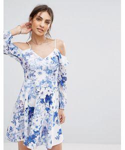 boohoo | Короткое Приталенное Платье С Открытыми Плечами И Цветочным Принтом