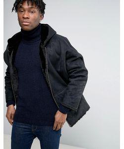 Asos | Черная Двусторонняя Куртка С Искусственным Мехом На Капюшоне