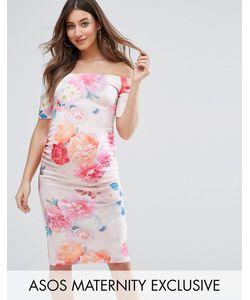ASOS Maternity   Платье С Открытыми Плечами И Цветочным Принтом